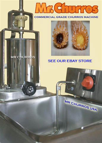 Churro machine with two nozzles to make plain or cream filled churros, and deep fryer operated 110v.